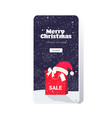 santa hat on shopping bag christmas sale concept vector image