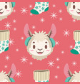 seamless pattern with llama and christmas stocking vector image vector image