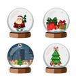 set of christmas snow globe vector image vector image