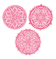 Set of cute circle ornament laces in pink mandala vector image
