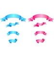 Set of pink and blue ribbons vector image vector image