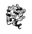 skull with a snake and vintage leaves vector image