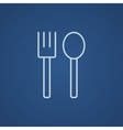 Spoon and fork line icon vector image vector image