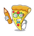 student pizza slice character cartoon vector image vector image