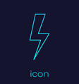 turquoise lightning bolt line icon isolated on vector image vector image