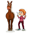 Young boy and a horse vector image vector image