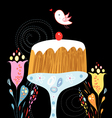 cake and bird vector image