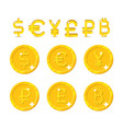currency sign and coins vector image