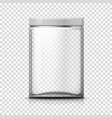 3d realistic big transparent glass jar vector image vector image