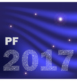 blue shiny curved happy new year pf 2017 from vector image vector image