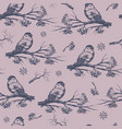 bullfinch seamless pattern hand drawn sketch vector image