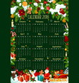 calendar template with christmas garland frame vector image
