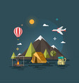 camping and mountain camp vector image vector image