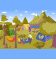 camping picnic in summer forest vector image vector image