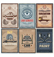 car repair service and taxi or evacuation posters vector image vector image