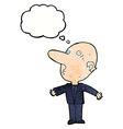 cartoon confused middle aged man with thought vector image