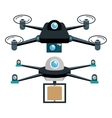 cartoon two drone technology graphic vector image