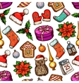 Christmas gifts seamless pattern background vector image