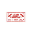 christmas santa mail stamp isolated vector image