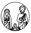 circular contour sacred family with baby jesus vector image vector image