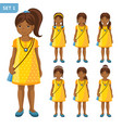 collection of cute african little girls with vector image vector image