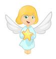 cute cartoon christmas angel holding a star vector image vector image