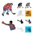 different kinds of sports cartoonblackflat vector image