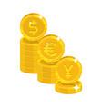 dollar euro yen coins vector image vector image