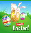 easter eggs and white bunny in the meadow vector image
