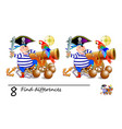 find 8 differences cute pirate near gun vector image vector image