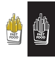 French fries in paper pack vector image vector image