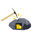 golden coin with bitcoin sign and pickaxe vector image vector image