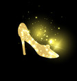 golden shining woman shoes with high heels vector image vector image