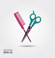 hair salon with scissors and comb icon vector image