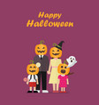 halloween family with pumpkin costumes vector image