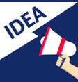 hand holding megaphone with idea announcement vector image