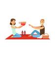 happy couple having outdoor barbeque picnic man vector image vector image