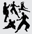 kung fu sport silhouette vector image vector image