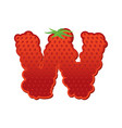 letter w strawberry font red berry lettering vector image vector image
