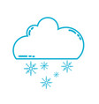 line cute cloud with snow and cold weather vector image vector image