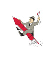 Man Bowler Hat Riding Fireworks Rocket Cartoon vector image