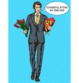 Man with candies box and flowers pop art vector image vector image