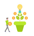money tree growth currency man invest vector image vector image