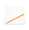 Pencil with paper isolated on white vector image