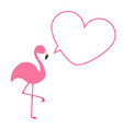 pink flamingo heart frame talking bubble template vector image vector image