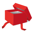 red opened gift box vector image vector image