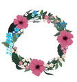 round floral frame wreath with different flowers vector image vector image