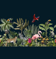 seamless border with jungle animals flowers and vector image vector image