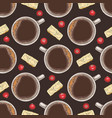 seamless pattern coffee chocolate cranberry vector image