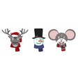 set christmas deer snowman and mouse vector image